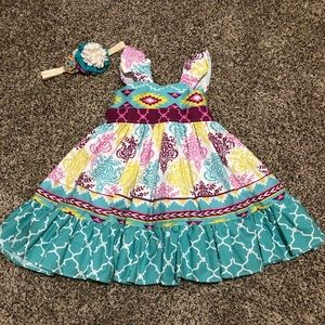 Other - Handmade Toddler Girl Dress and Headband 18 month